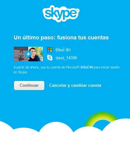 Fusión de cuentas Microsoft® y Skype™